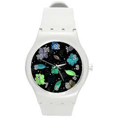 Blue And Green Flowers  Round Plastic Sport Watch (m) by Valentinaart