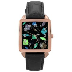 Blue And Green Flowers  Rose Gold Leather Watch  by Valentinaart