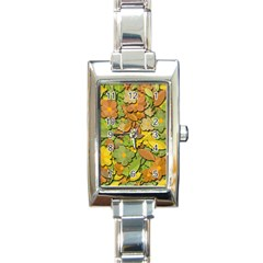 Autumn Flowers Rectangle Italian Charm Watch by Valentinaart