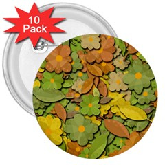 Autumn Flowers 3  Buttons (10 Pack)  by Valentinaart