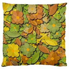 Autumn Flowers Large Flano Cushion Case (two Sides) by Valentinaart