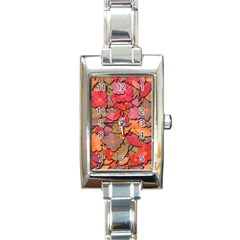 Beautiful Floral Design Rectangle Italian Charm Watch by Valentinaart