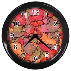 Beautiful Floral Design Wall Clocks (black) by Valentinaart