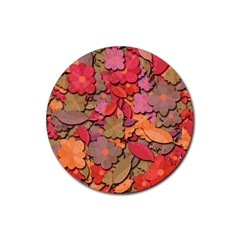 Beautiful Floral Design Rubber Round Coaster (4 Pack)  by Valentinaart