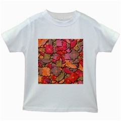 Beautiful Floral Design Kids White T Shirts by Valentinaart