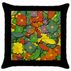 Decorative Flowers Throw Pillow Case (black) by Valentinaart