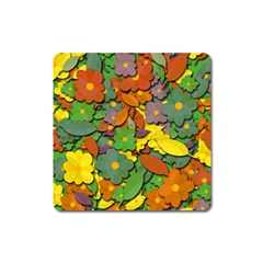 Decorative Flowers Square Magnet by Valentinaart