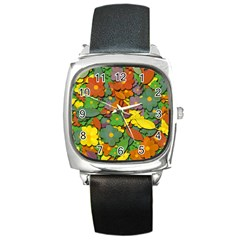 Decorative Flowers Square Metal Watch by Valentinaart