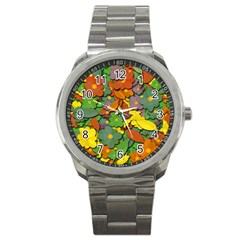 Decorative Flowers Sport Metal Watch by Valentinaart