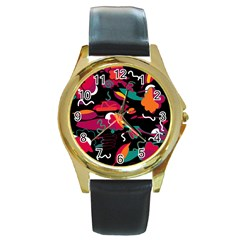 Colorful Abstract Art  Round Gold Metal Watch by Valentinaart