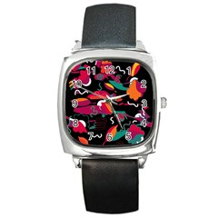 Colorful Abstract Art  Square Metal Watch by Valentinaart