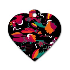 Colorful Abstract Art  Dog Tag Heart (two Sides) by Valentinaart