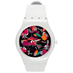 Colorful Abstract Art  Round Plastic Sport Watch (m) by Valentinaart
