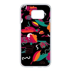 Colorful Abstract Art  Samsung Galaxy S7 Edge White Seamless Case by Valentinaart