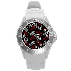 Elegance   Red  Round Plastic Sport Watch (l) by Valentinaart