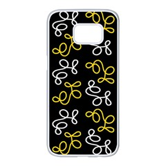 Elegance   Yellow Samsung Galaxy S7 Edge White Seamless Case by Valentinaart