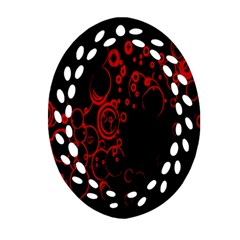 Abstraction Textures Black Red Colors Circles Oval Filigree Ornament (2 Side)