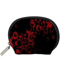 Abstraction Textures Black Red Colors Circles Accessory Pouches (small)  by AnjaniArt