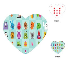 Animals Monster Music Playing Cards (heart)  by AnjaniArt