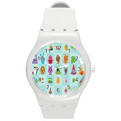 Animals Monster Music Round Plastic Sport Watch (m) by AnjaniArt