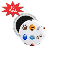 Cat Mouse Dog 1 75  Magnets (10 Pack)  by AnjaniArt