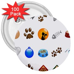 Cat Mouse Dog 3  Buttons (100 Pack)