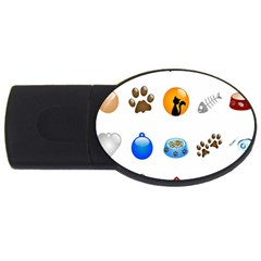 Cat Mouse Dog Usb Flash Drive Oval (2 Gb)  by AnjaniArt