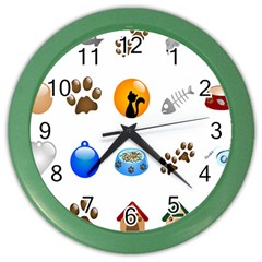 Cat Mouse Dog Color Wall Clocks