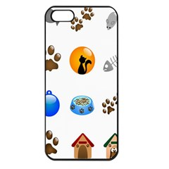 Cat Mouse Dog Apple Iphone 5 Seamless Case (black) by AnjaniArt
