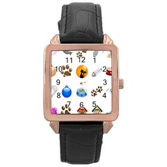 Cat Mouse Dog Rose Gold Leather Watch  by AnjaniArt