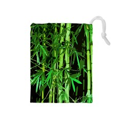 Bamboo Pattern Tree Drawstring Pouches (medium)  by AnjaniArt