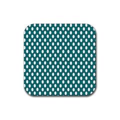 Circular Pattern Blue White Rubber Coaster (square)  by AnjaniArt