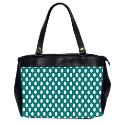 Circular Pattern Blue White Office Handbags (2 Sides)  by AnjaniArt