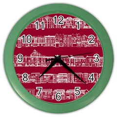 City Building Red Color Wall Clocks