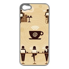 Coffee Ofice Work Commmerce Apple Iphone 5 Case (silver)