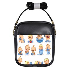 Cute Baby Picture Funny Girls Sling Bags by AnjaniArt
