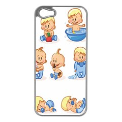Cute Baby Picture Funny Apple Iphone 5 Case (silver) by AnjaniArt