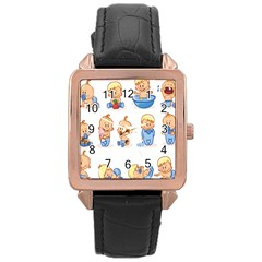 Cute Baby Picture Funny Rose Gold Leather Watch