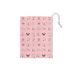 Dog Pink Drawstring Pouches (small)  by AnjaniArt