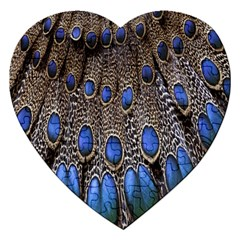 Feathers Peacock Light Jigsaw Puzzle (heart) by AnjaniArt