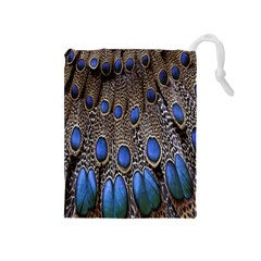 Feathers Peacock Light Drawstring Pouches (medium)  by AnjaniArt