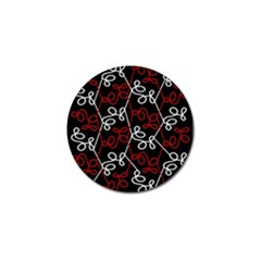 Elegant Red And White Pattern Golf Ball Marker by Valentinaart