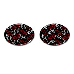 Elegant Red And White Pattern Cufflinks (oval) by Valentinaart