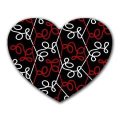 Elegant Red And White Pattern Heart Mousepads by Valentinaart