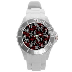 Elegant Red And White Pattern Round Plastic Sport Watch (l) by Valentinaart