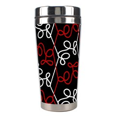 Elegant Red And White Pattern Stainless Steel Travel Tumblers by Valentinaart