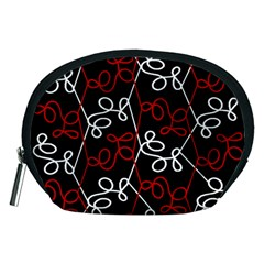 Elegant Red And White Pattern Accessory Pouches (medium)