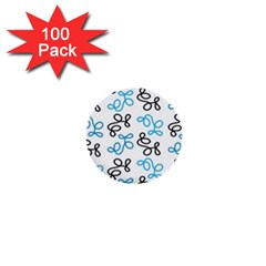 Blue Elegance  1  Mini Buttons (100 Pack)  by Valentinaart
