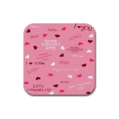 Happy Valentines Day Rubber Square Coaster (4 Pack)