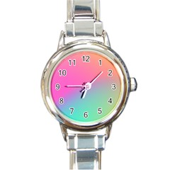 Pink Blue Round Italian Charm Watch